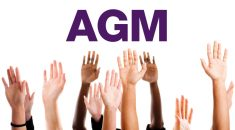 hands raised under AGM text