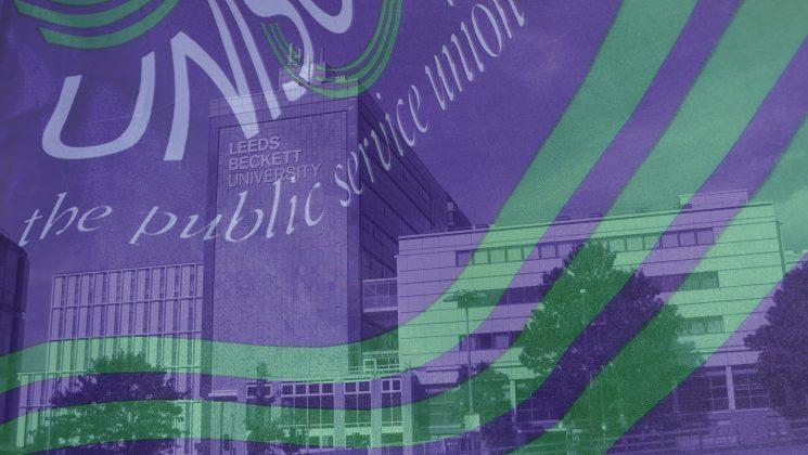 Leeds Beckett Portland Building with Unison flag overlaid